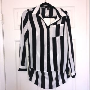 Forever 21 Striped Open Back Button Up Blouse